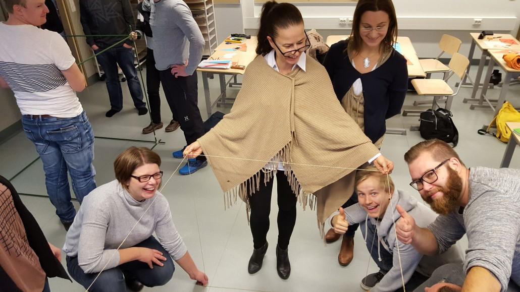 teachers in Finland making cube model